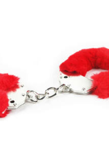 Fetish pleasure fluffy hand cuffs. vörös plüssel bevont acél bilincs két kulccsal