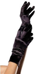 Wrist length satin gloves, black, o/s