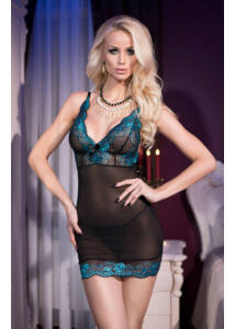 Cr 4211 m black blue babydoll + string