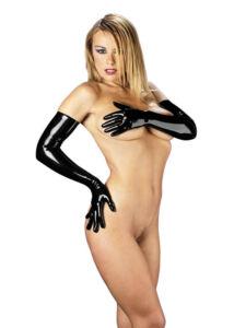 Hosszú fekete latex kesztyű Gloves Long