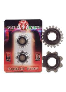 Fekete péniszgyűrű készlet 2 db-os Synergy tickler rings