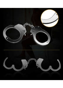 Fetish pleasure metal hand cuffs