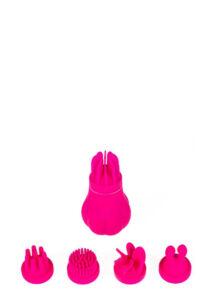 Caress - akkus, forgó csikló vibrátor szett (pink)