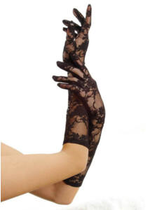 Csipke fekete kesztyű Elbow length stretch gloves o/s