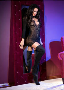 Cr 4100  sm  black seamless minidress