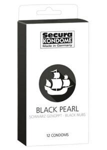 Secura black pearl, pontozott felületű óvszer (12 db)