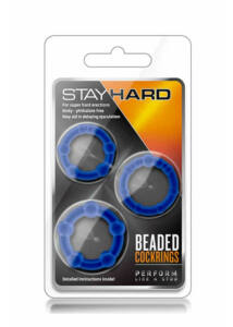 Stay hard beaded cockrings blue