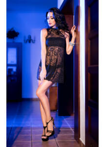 Cr 4082  s/m  black lacedress with top and panty