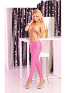 Pink lipstick sleek and shiny pink leggings