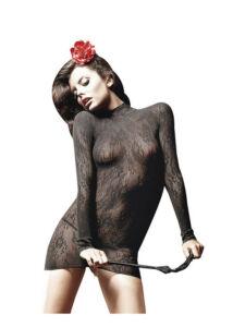 Szexi hosszúujjú csipke miniruha - fekete