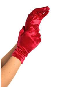 Wrist length satin gloves, red, o/s