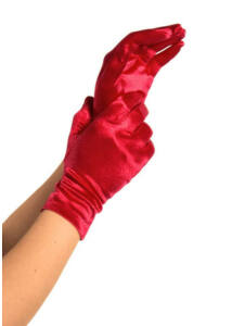 Wrist length satin gloves, red, o/s