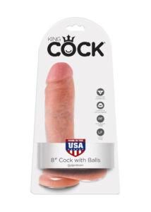 King cock 20 cm dildó, herékkel (20 cm - világos bőrszín)