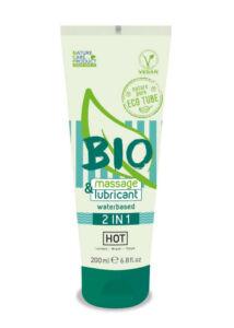 Hot bio 2in1 - vízbázisú síkosító- és masszázsgél (200 ml)