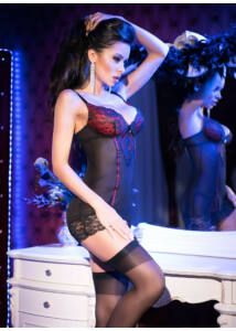 Cr 4153 s black red chemise + string