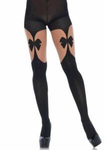 Illusion garterbelt pantyhose, black, nude, o/s