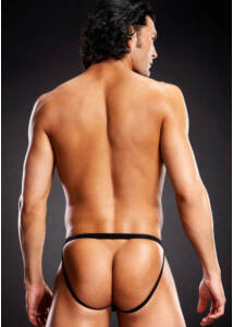 Microf. thong w. metal rings black s/m