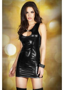 Chilirose cr 3578 m black leatherlook minidress