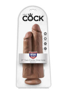King cock 9 inch two cocks one hole