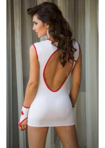 Dögös nővérke ruha, szexi jelmez, fehér és piros színben