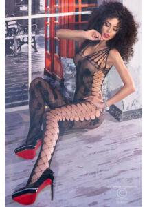 Cr 4261 s/m black bodystocking. oldalt fűzött cicaruha - fekete (s/m)