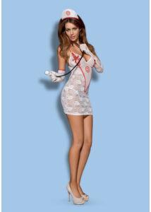 Csipke nővérke jelmez szett fehér Obsessive