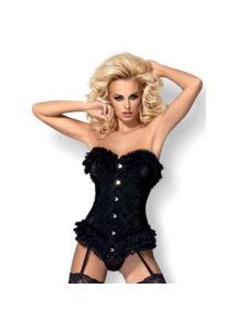 Rendkívül nőies, elefántcsont fűző, fekete szexi ruha