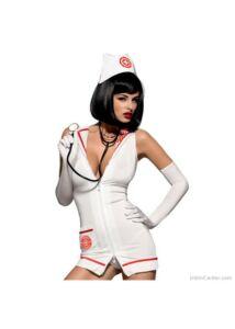 Szexis nővérke, orvosnő ruha sztetoszkóppal Obsessive emergency