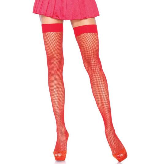 Nylon fishnet stocking - red - o/s - hosiery