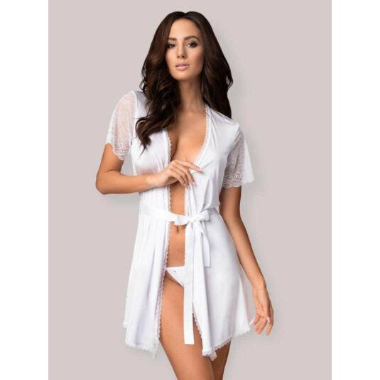 Obsessive miamor robe - csipkés ujjú köntös tangával (fehér)