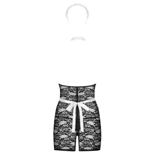 Szobalány jelmez, fekete csipke ruhávalL/XL