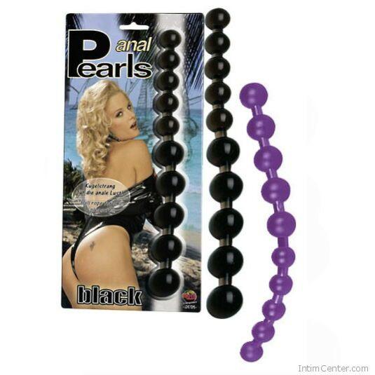 Gyöngyös análrúd Pearls (fekete)