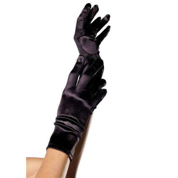 Wrist length satin gloves, black, o/s