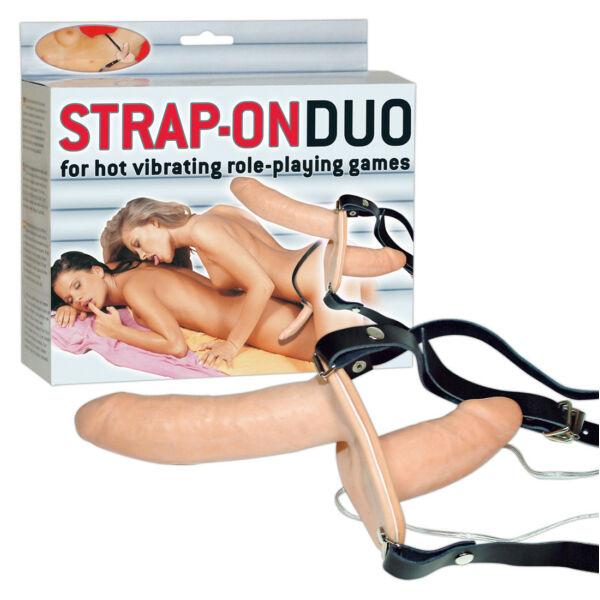 Strap-on duo felcsatolható, kétvégű rezgőpénisz (világos bőrszín)