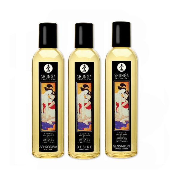Shunga masszázsolaj többféle illatban (egzotikus gyümölcs)