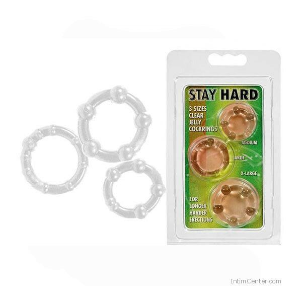 Stay Hard 3 db-os péniszgyűrű szett, péniszgyűrűk